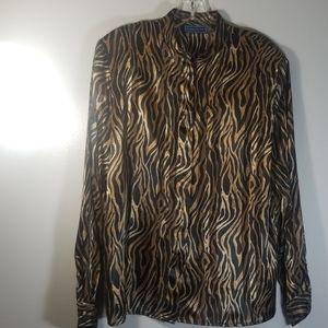 Karen Scott gold and brown long sleeves shirt.